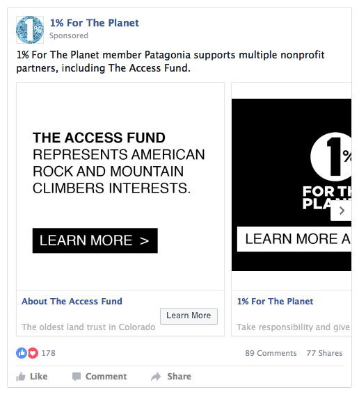 Example Social Advertising - The standard program includes a unique slideshow creative ad unit that tells the story of your 1% commitment and nonprofit relationship. With our enhanced program, members are able to take advantage of unique social ad units on both Facebook and Instagram in a custom program.