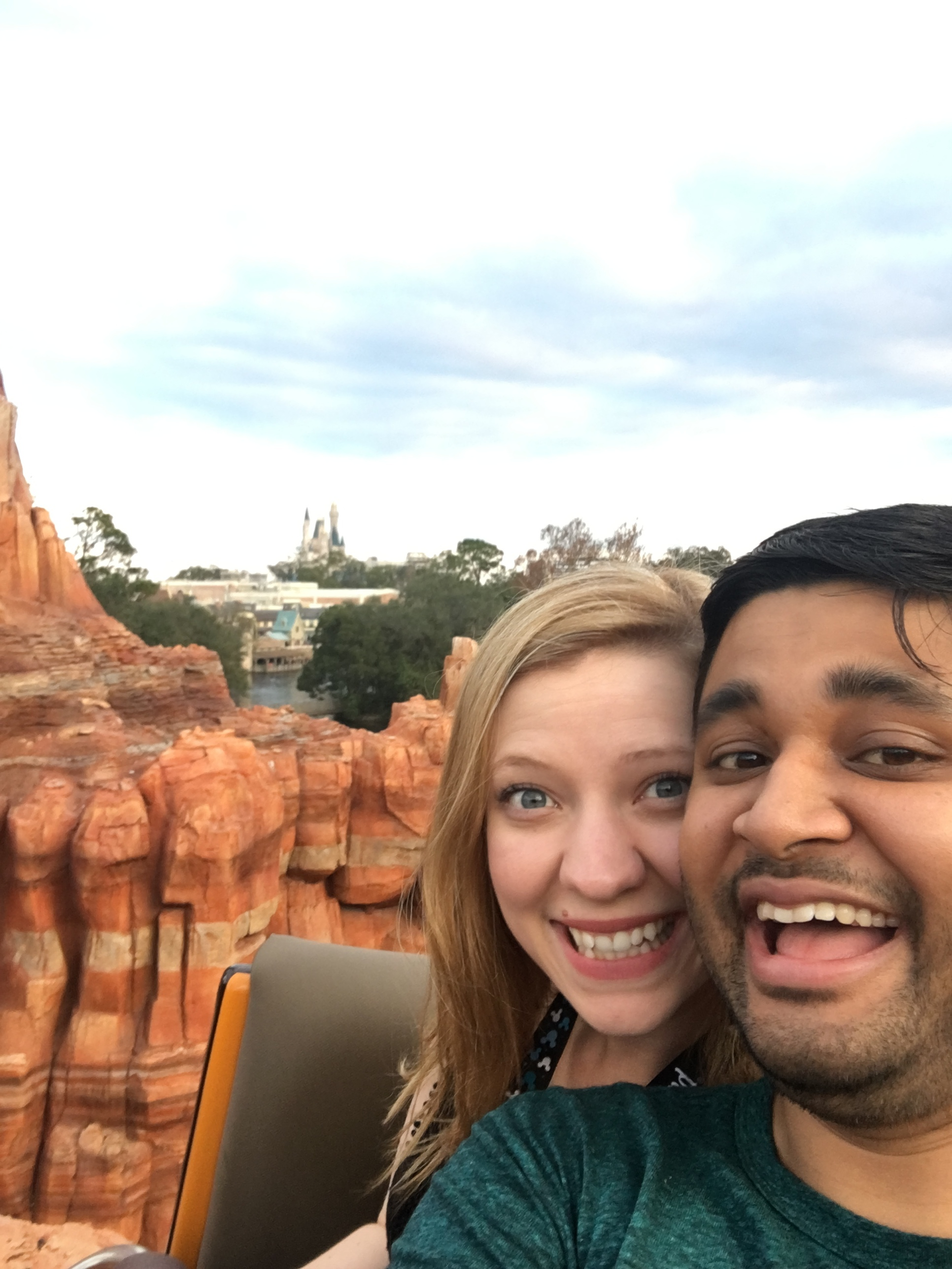 The ride stopped on the top of a hill on Big Thunder. Enjoying the incredible view!