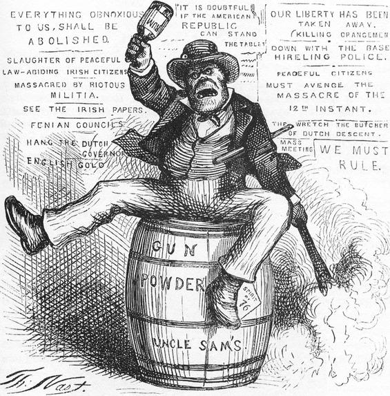 "Political cartoon by Thomas Nast – ""The Usual Irish Way of Doing Things"";Image  via"