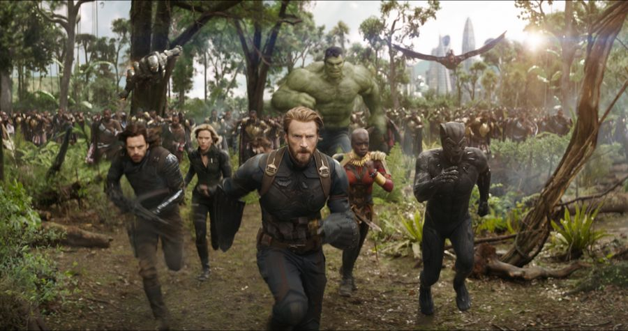 From left to right: War Machine, Winter Soldier, Black Widow, Captain America, Hulk, Okoye, and Black Panther in  Avengers: Infinity War.   Image  via