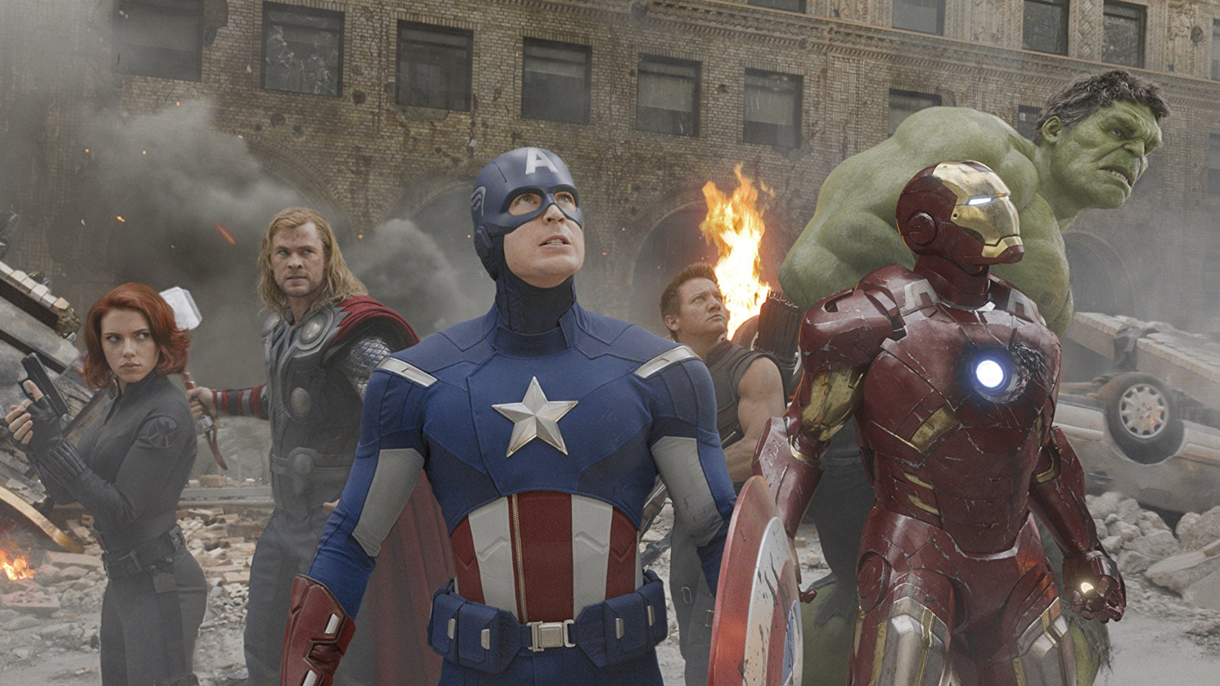 Black Widow, Thor, Captain America, Hawkeye, Hulk, and Iron Man.  Image  via .