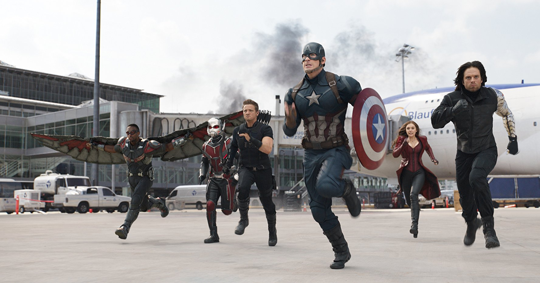 Falcon, Ant-Man, Hawkeye, Captain America, Scarlet Witch, and Winter Soldier.  Image  via