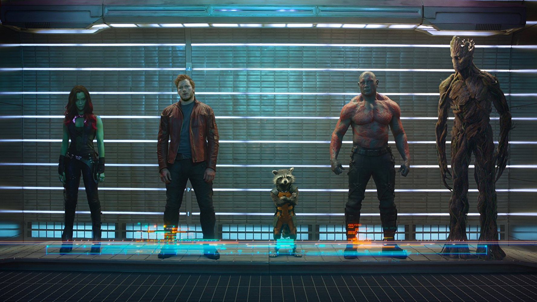 Gamora, Star-Lord, Rocket, Drax, and Groot.  Image  via .