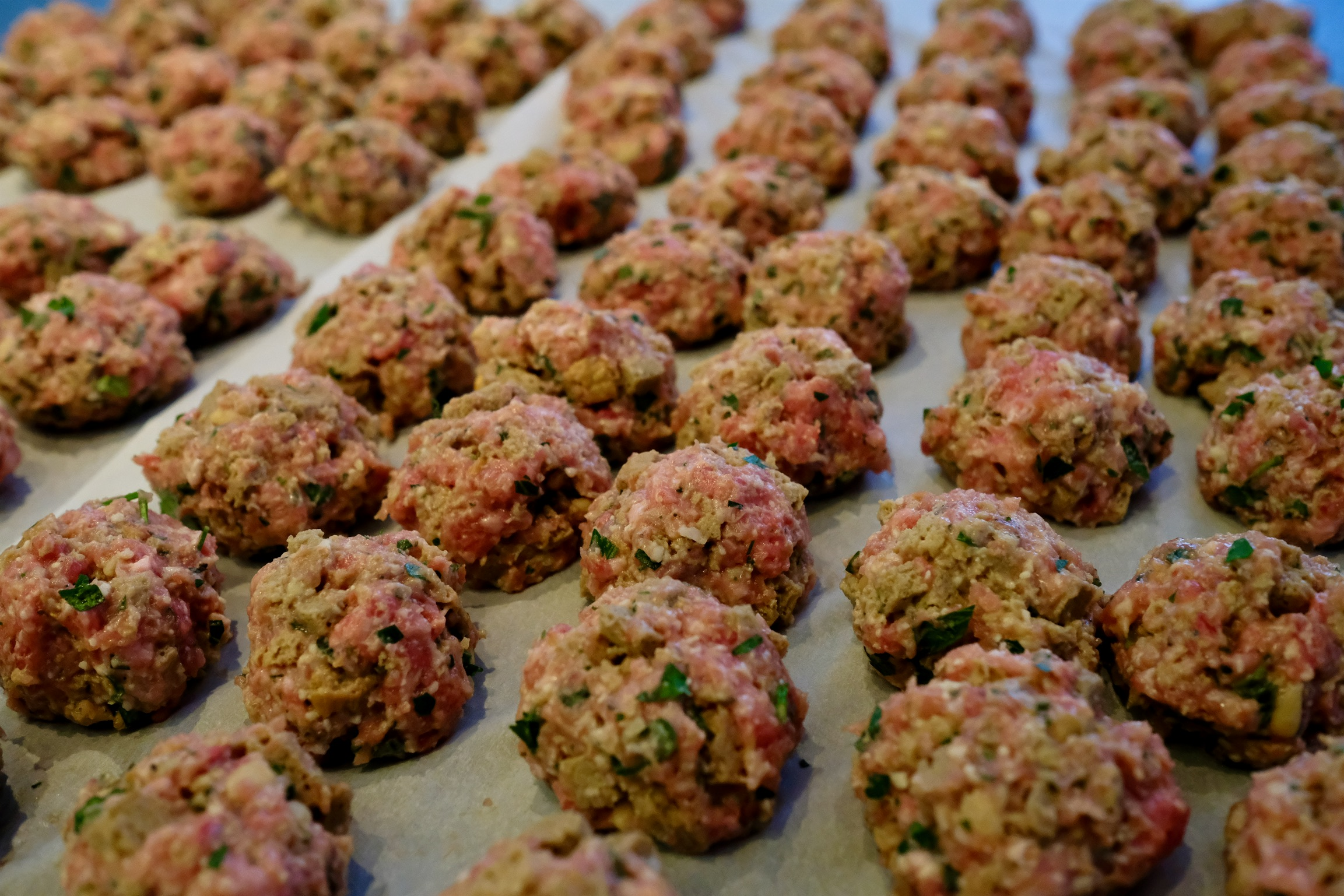 We sized our meatballs somewhere between a golf ball and a tennis ball, but you can form them into whatever size you want!