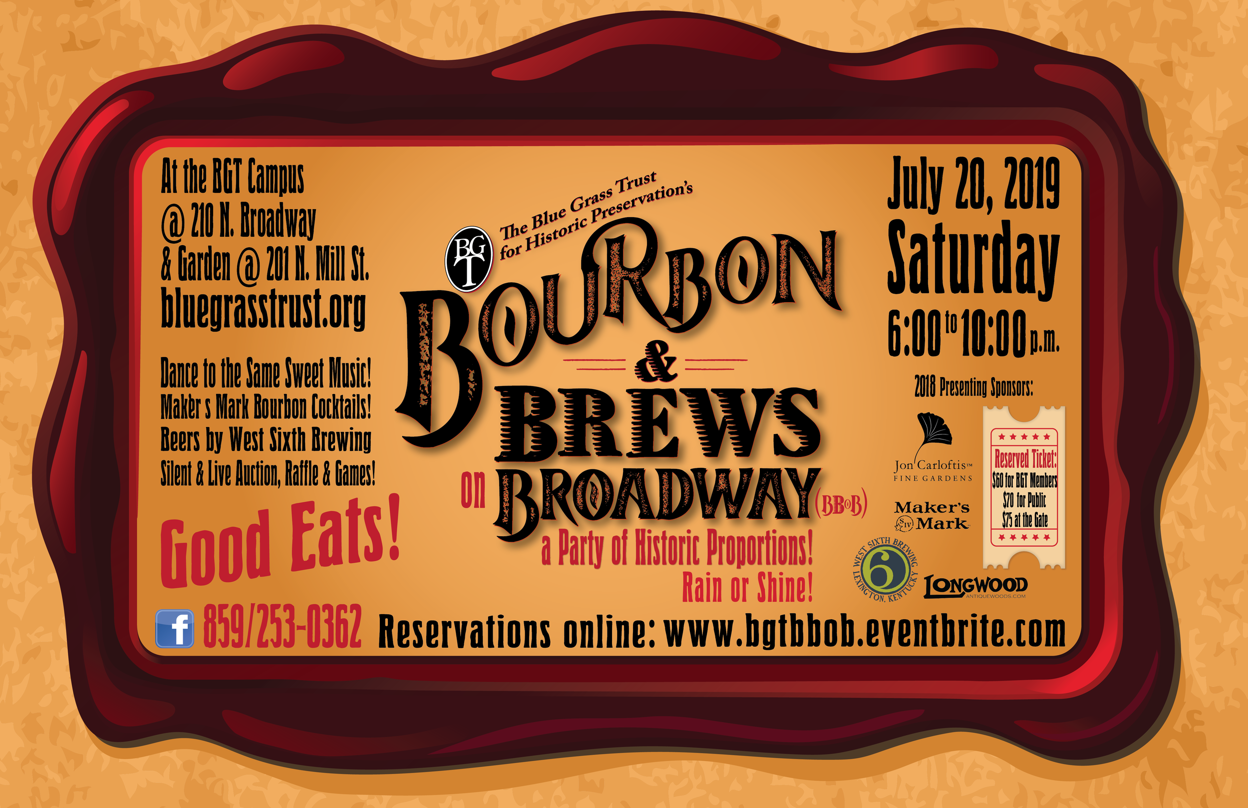 July 20th, pleas be sure to join the Blue Grass Trust for Historic Preservation as we partner again with our great friends at Jon Carloftis Fine Gardens to kick off Bourbon & Brews on Broadway: A Party of Historic Proportions. It is an event you do not want to miss, with that same funkadelic live music, specialty Maker's Mark cocktails created by Lexington's best mixologist, our own beer garden thanks to our friends at West Sixth, Longwood Antique Wood cocktail bar, and plenty of games and art not to mention an impressive collection from our silent auction. All of this will be happening at our BGT campus at the Dr. Thomas Hunt Morgan House (210 N. Broadway) and Hopemont, the Hunt-Morgan House (201 N. Mill Street) from 6:00 p.m. to 10:00 p.m. Last year the party sold out so be sure to reserve your spot ASAP.  Reservations for Bourbon & Brews on Broadway are $60.00 for members and $70.00 for non-members with each purchase including 5 drink tickets and summer classic cooking from Catering by Donna.
