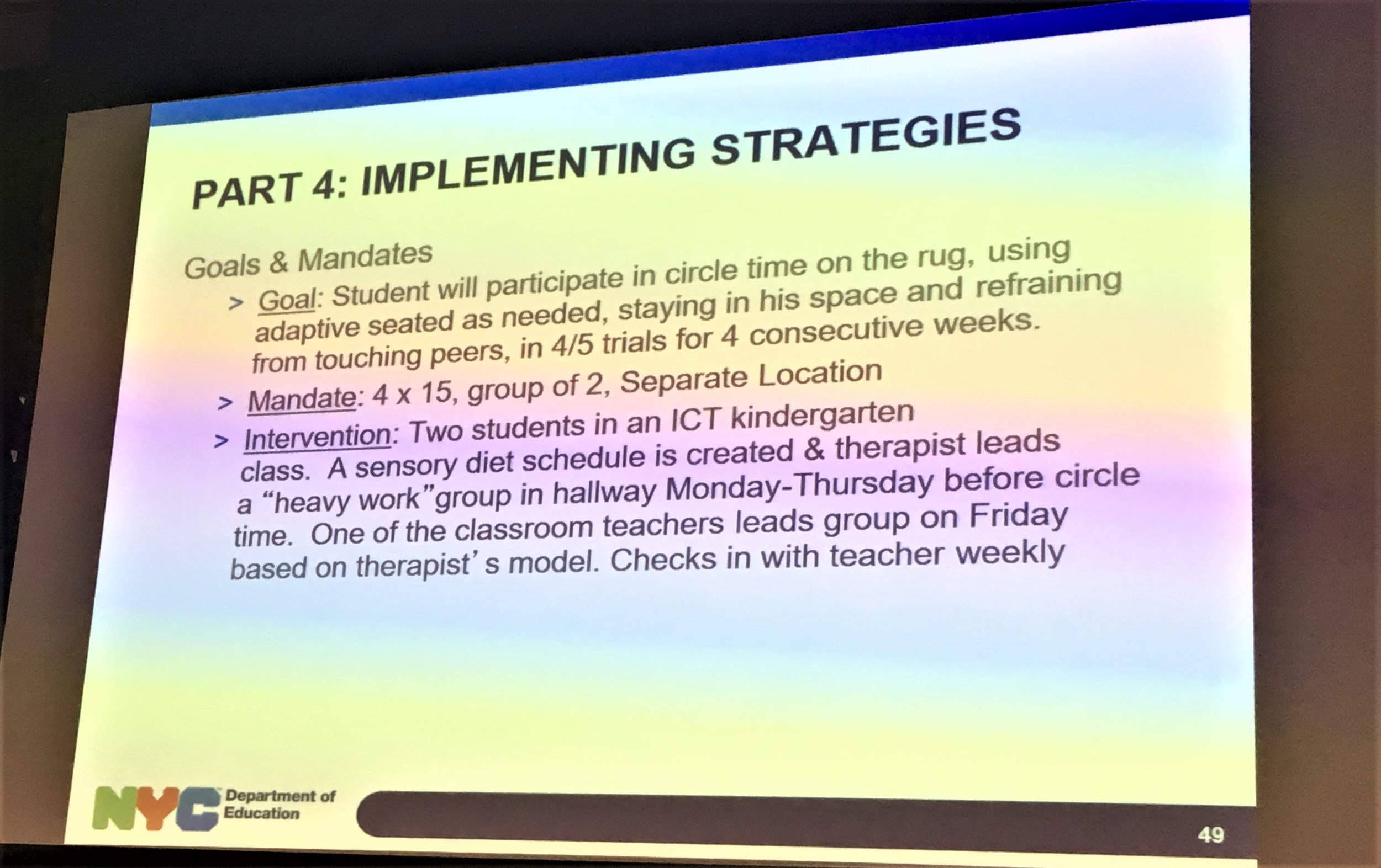 From the presentation: Classroom-Based Sensory Strategies for Students in Rigorous Academic Environments (Jackie Ortiz and Lauren Greenman, DOE)