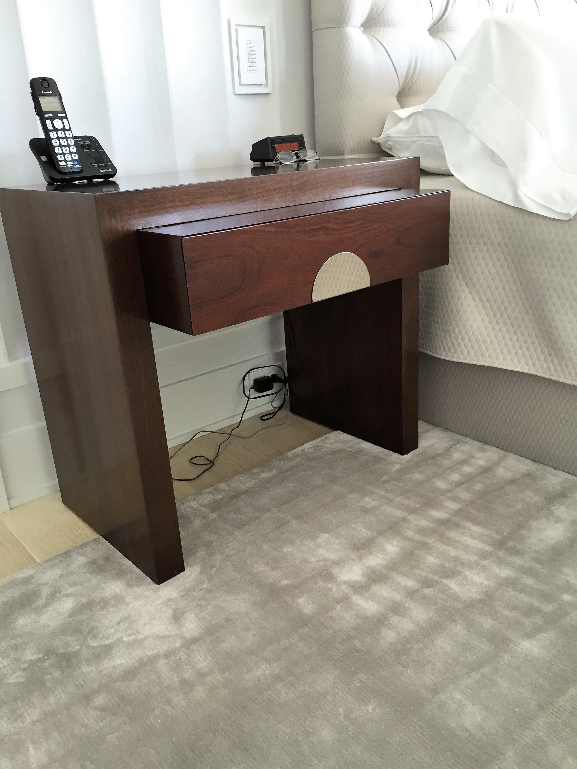 Mahogany nightstand with custom hardware