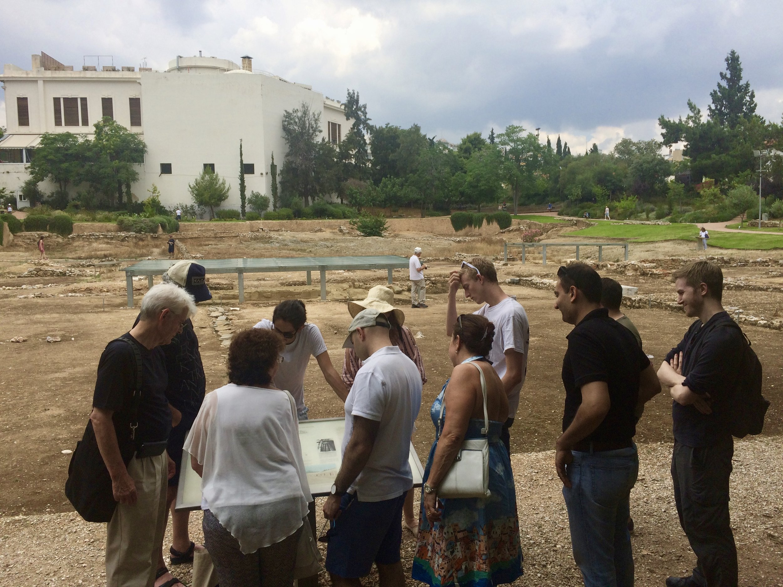 Aristotle's Lyceum - Travelers orienting to the site...