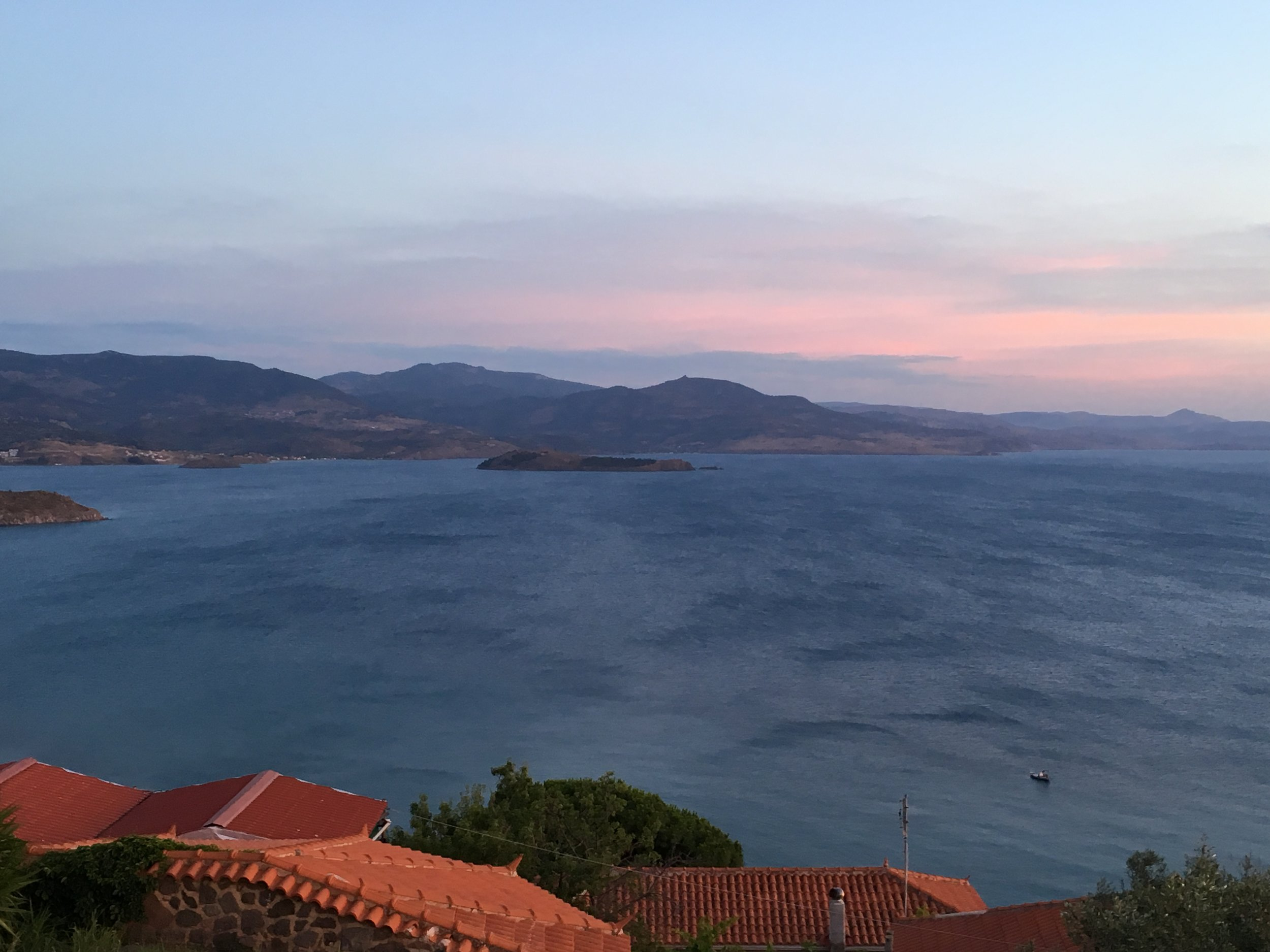 The view of Behram, Turkey, from Molyvos, Lesvos. This is the site of the ancient Greek city of Assos,