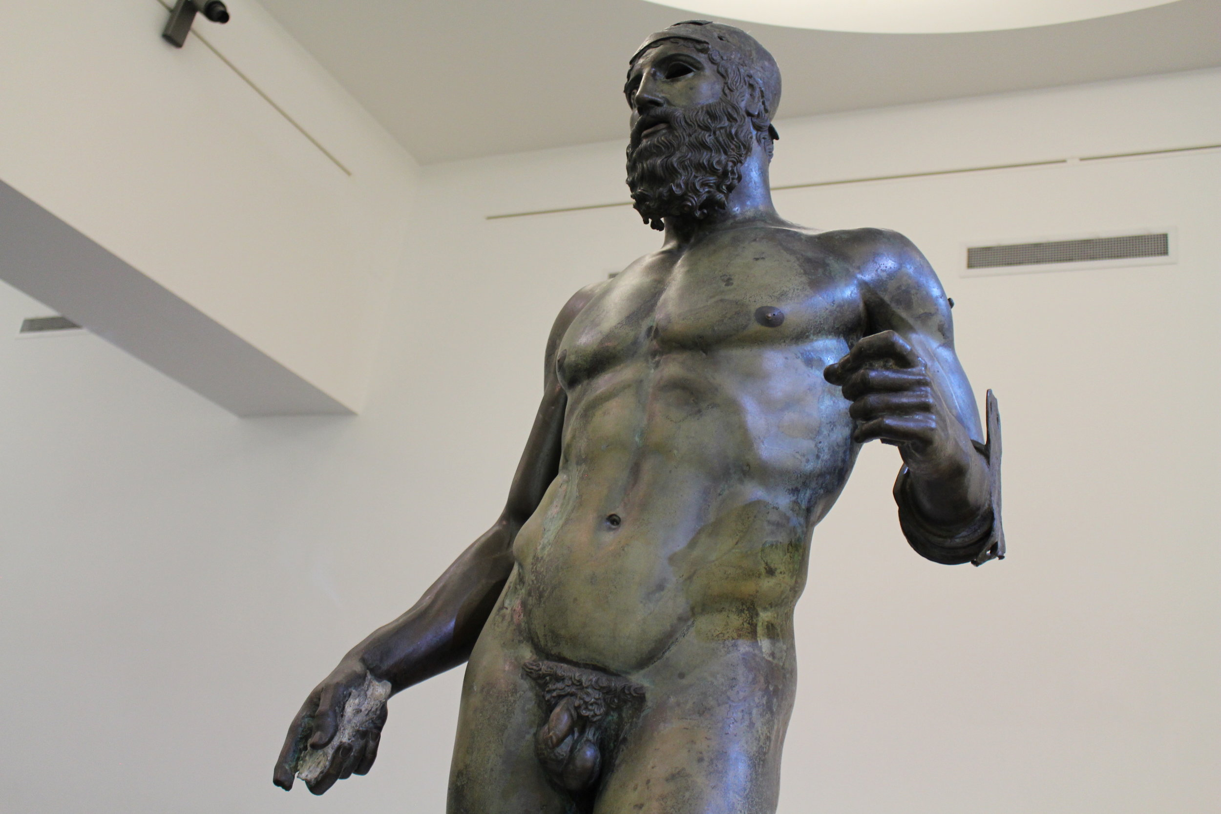 Statue B, which likely had a helmet originally. Isn't it ironic that such distinguished pieces don't have better names?