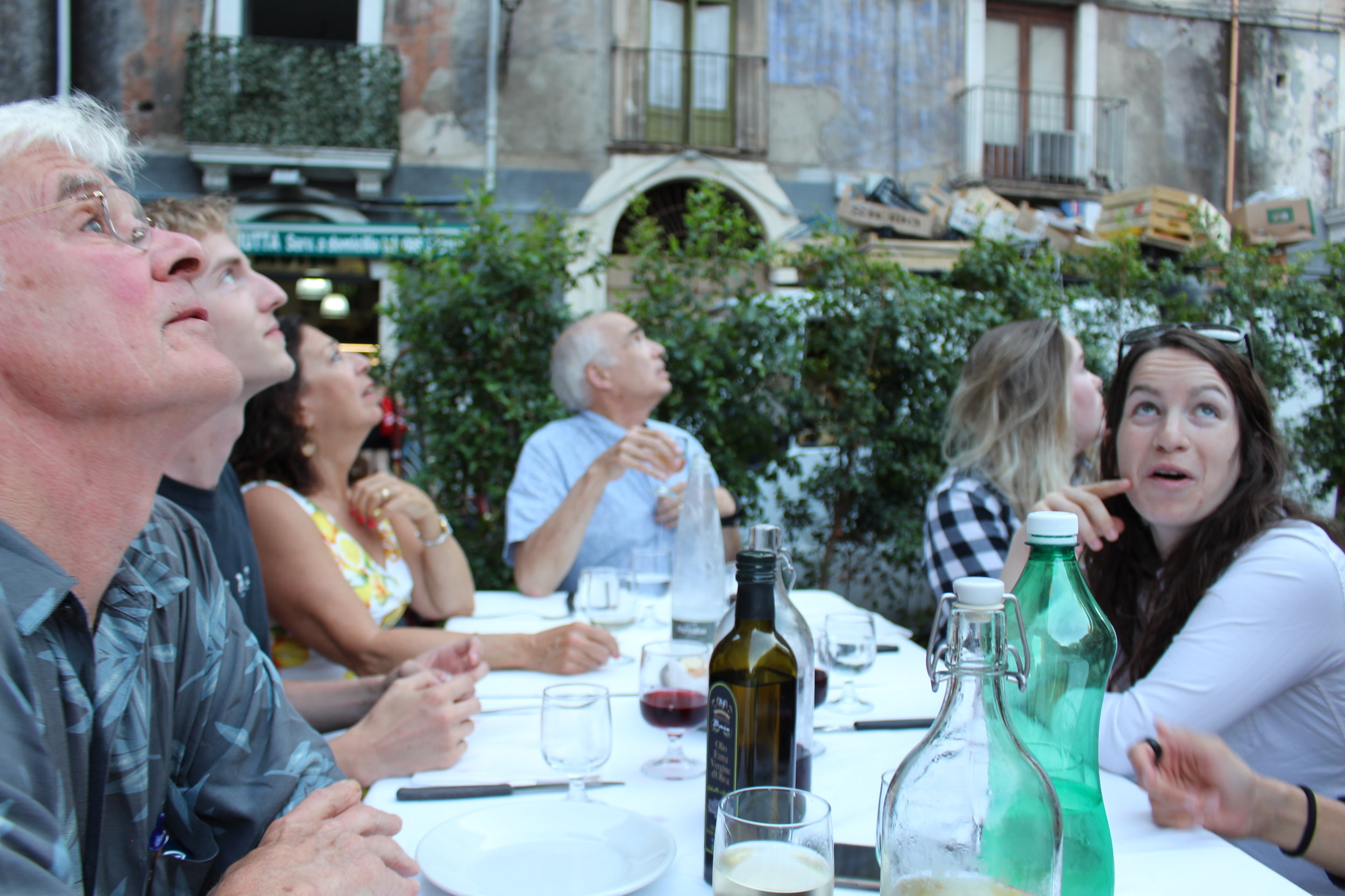 Our last dinner together, at the Trattoria del Cavaliere, we were craning our heads to figure out if we were looking at birds or bats swooping around. The food was exceptional.