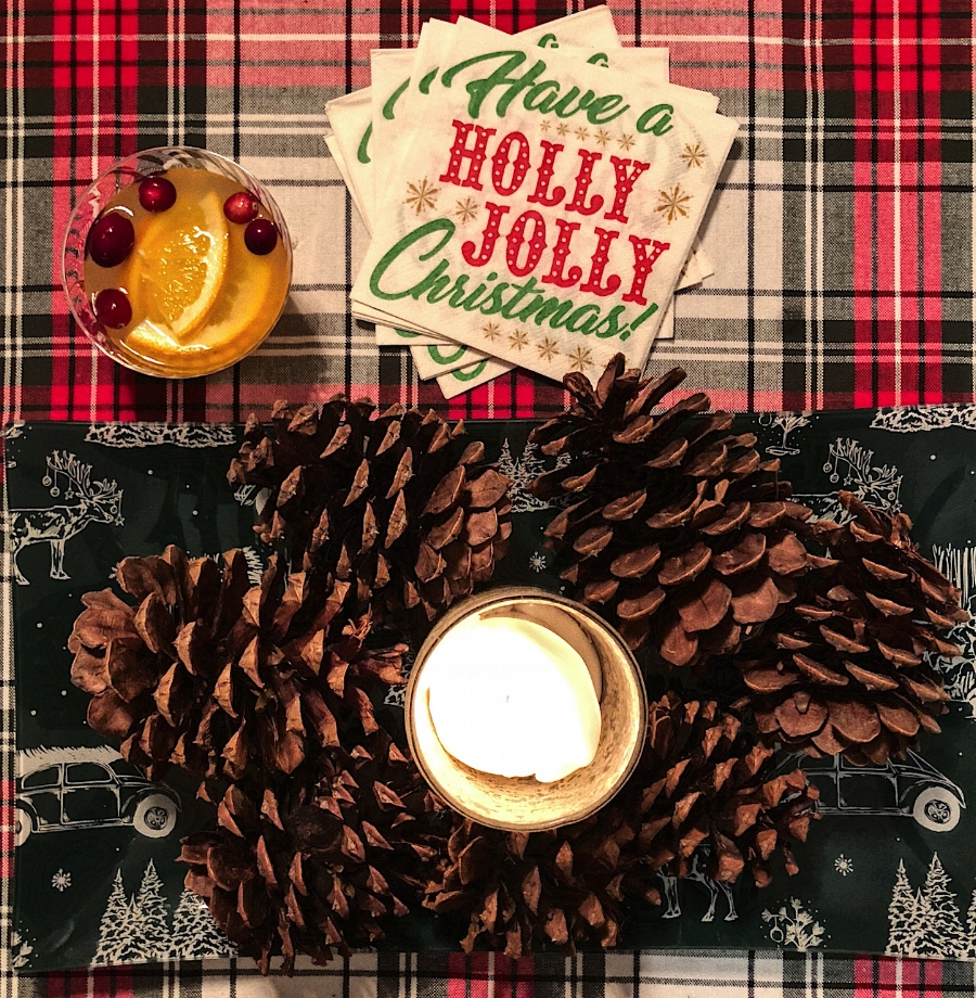 Cinnamon Pinecones, Spiced Rum Punch, Candles, Carols, Cookies, and all the holiday feels