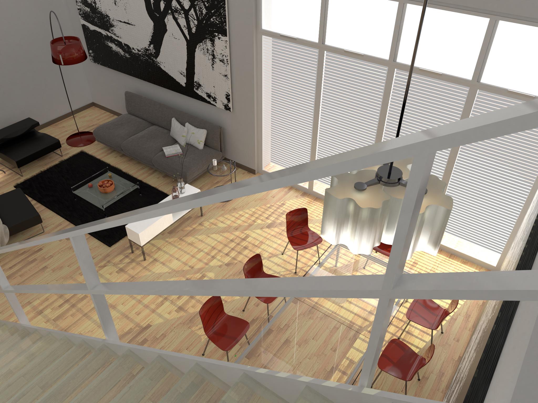 Maisonettewohnung - Blick von der Treppe