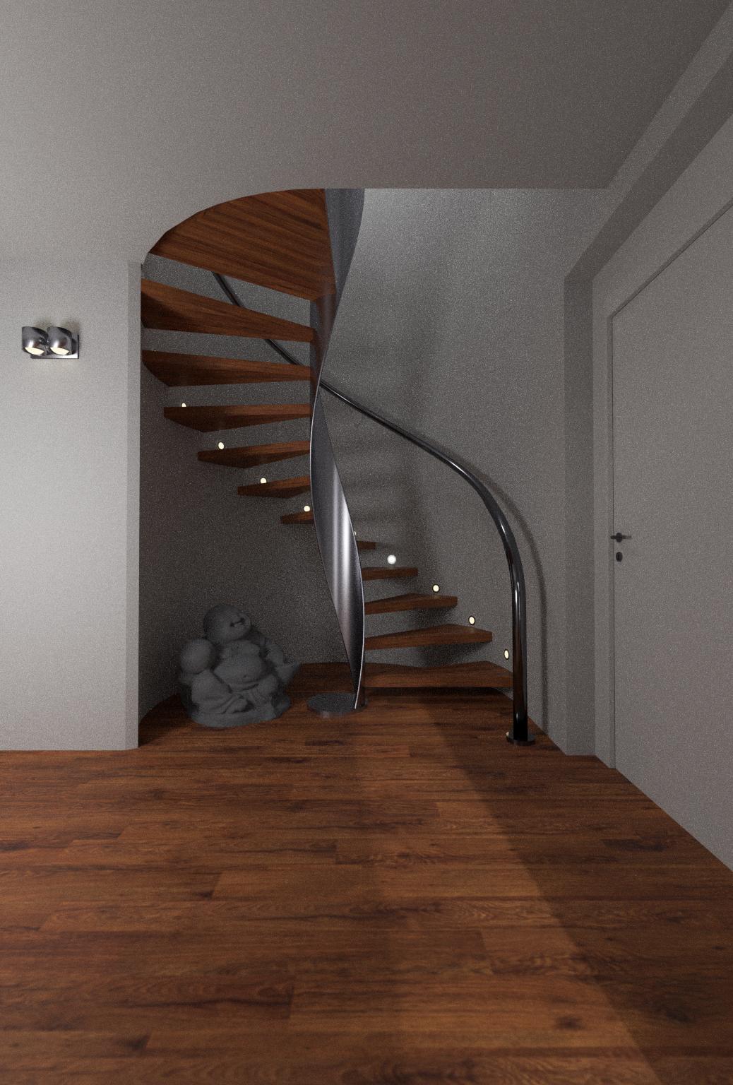 Galeriewohnung - Flur mit Wendeltreppe