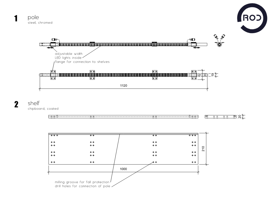 Möbeldesign, modulares Regal