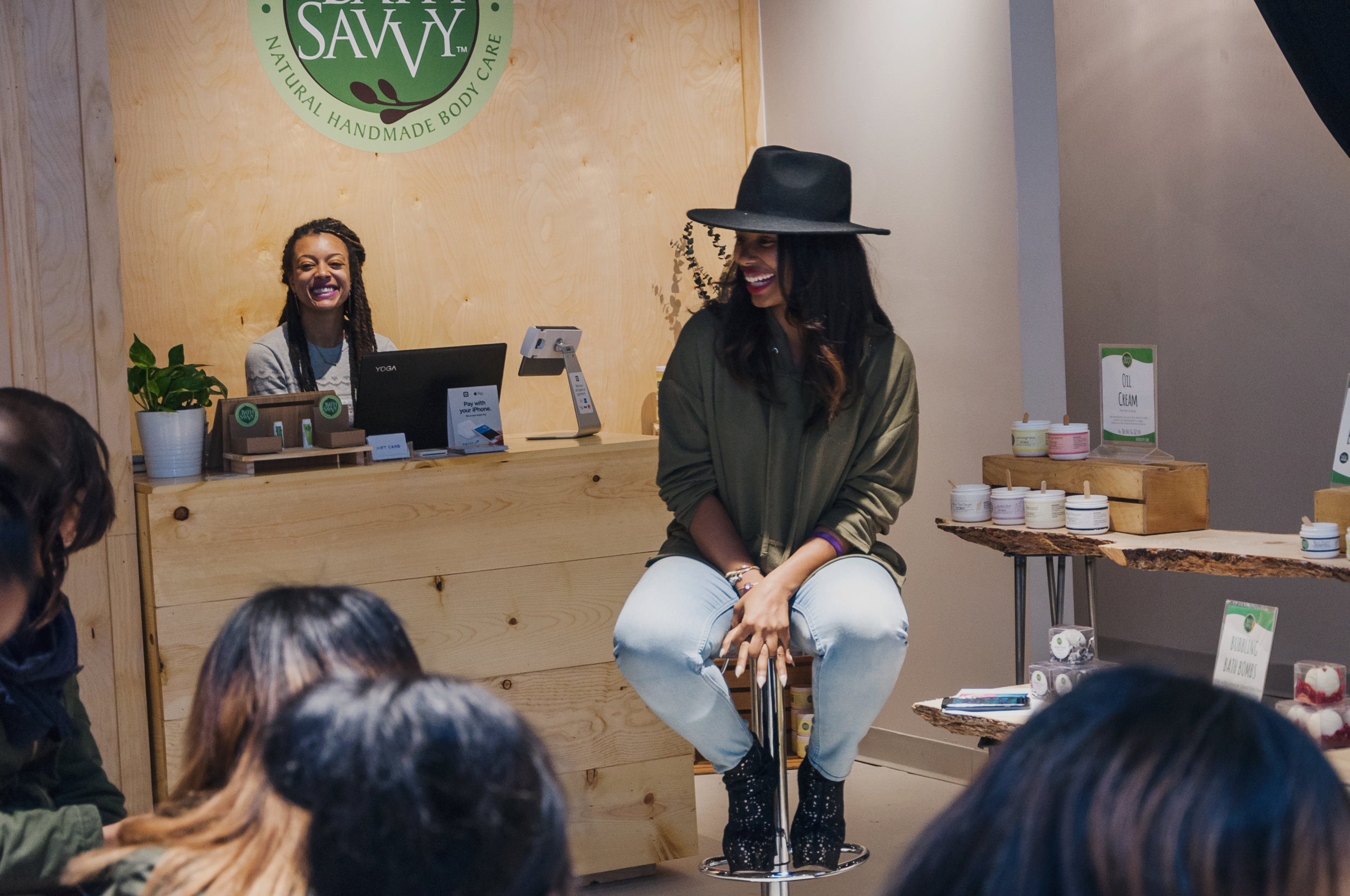 Melissa Butler of the Lip Bar shares a laugh with our girls at the inaugural True You Workshop, hosted at NorthEnd Collective in Midtown Detroit.