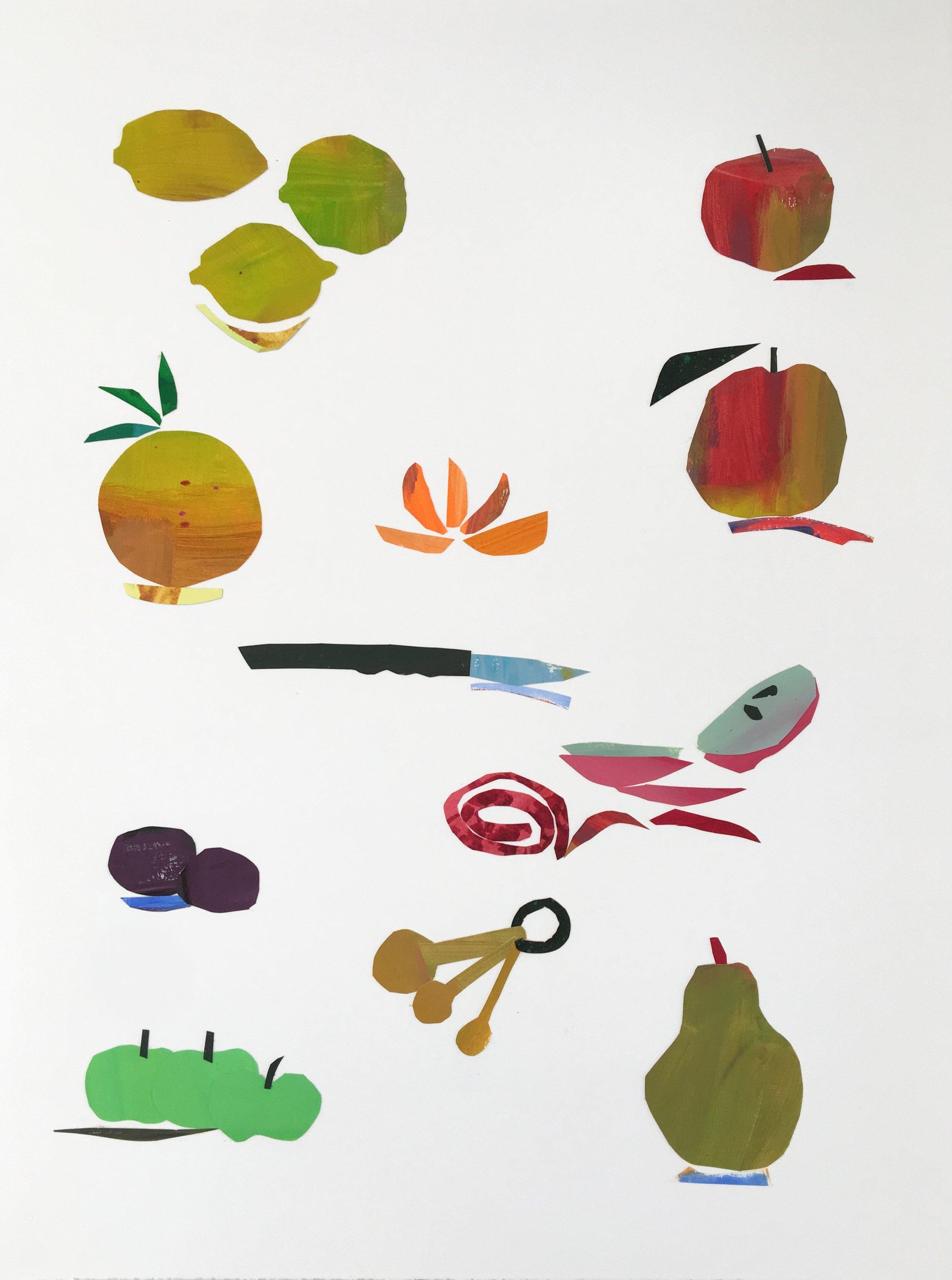 Collage, Fruit, 30x23