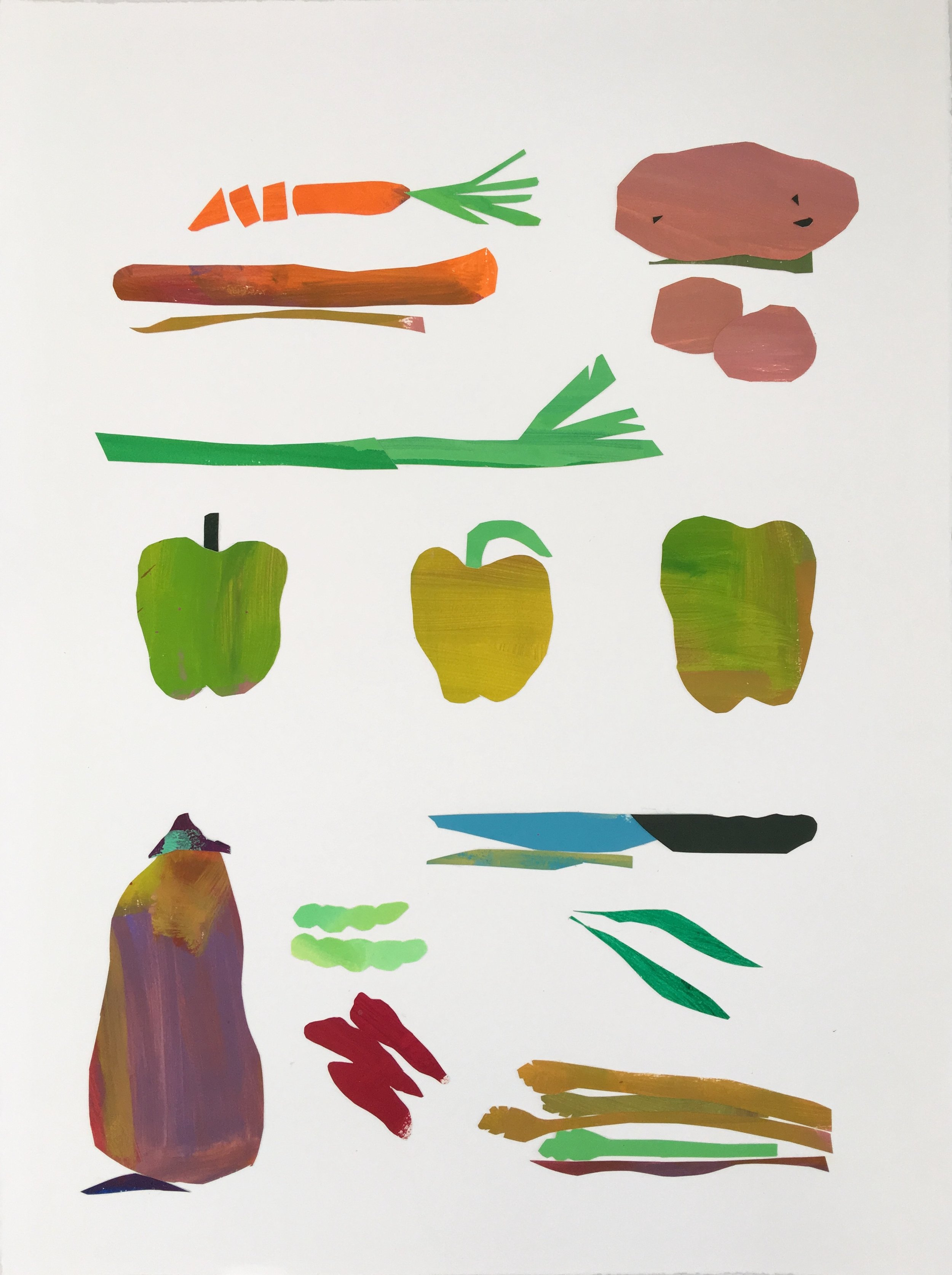 Collage, Vegetables, 30x23