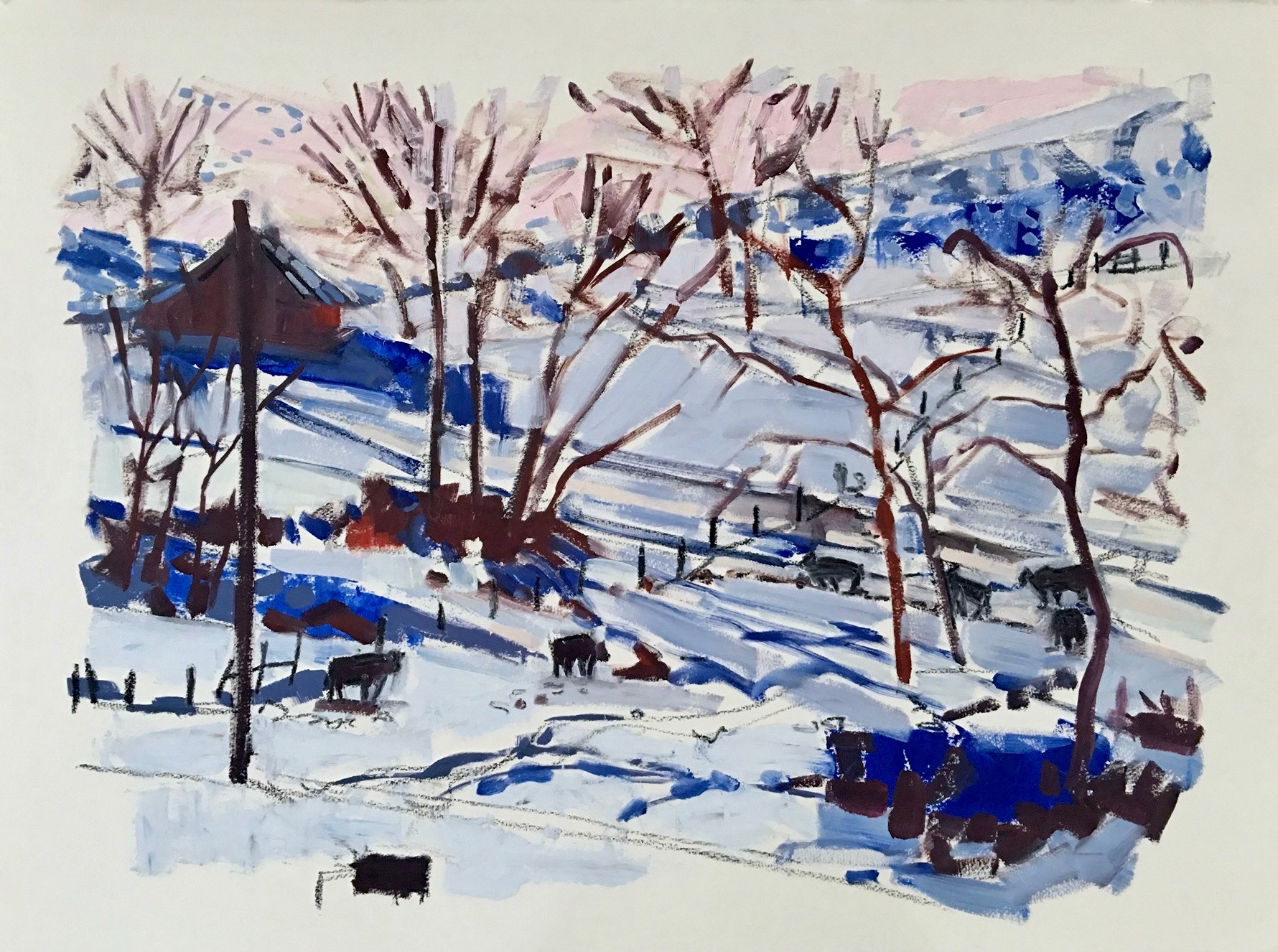 Cows in Winter, 23x30