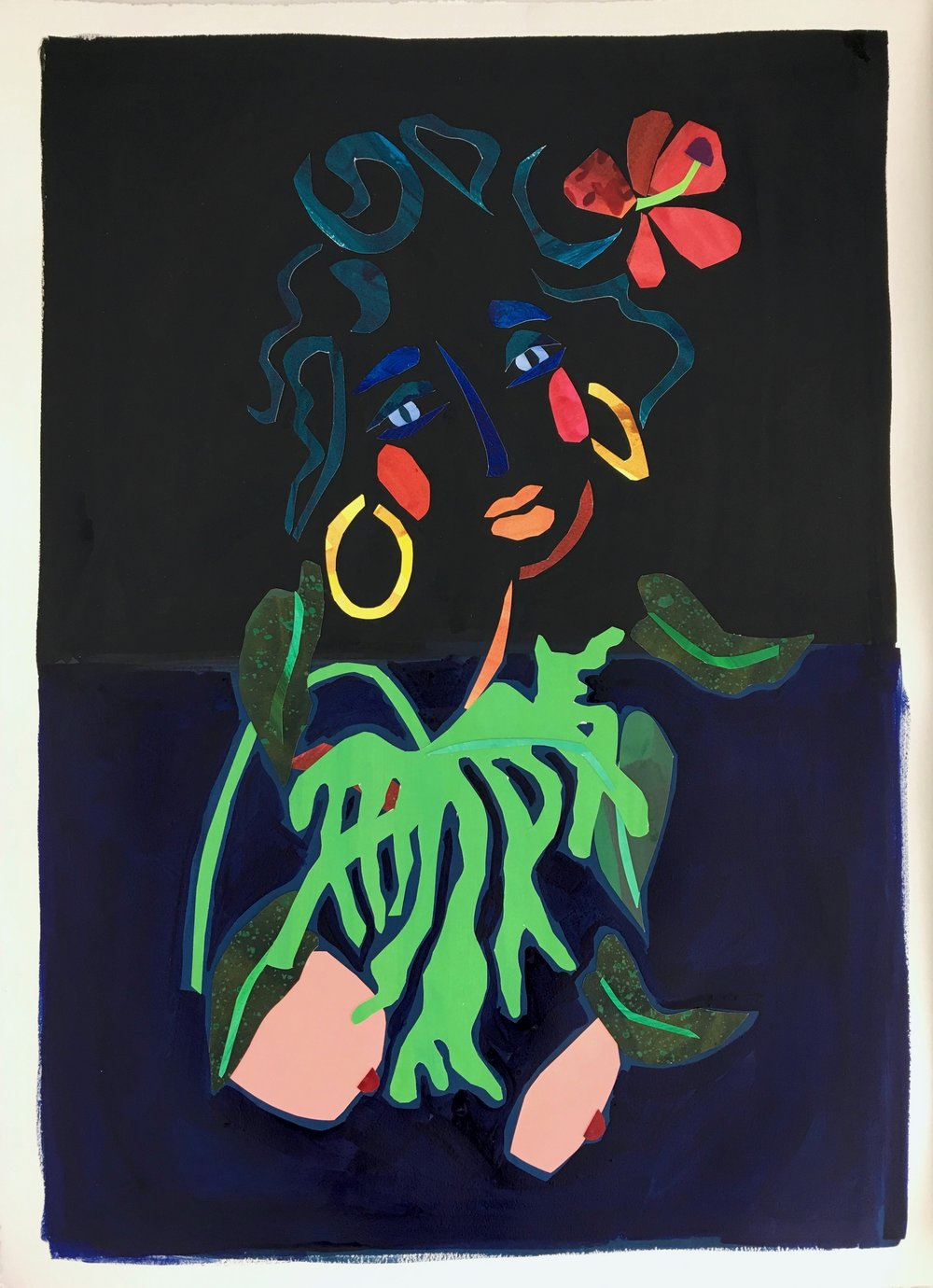 Collage, Indigo I, 30x23