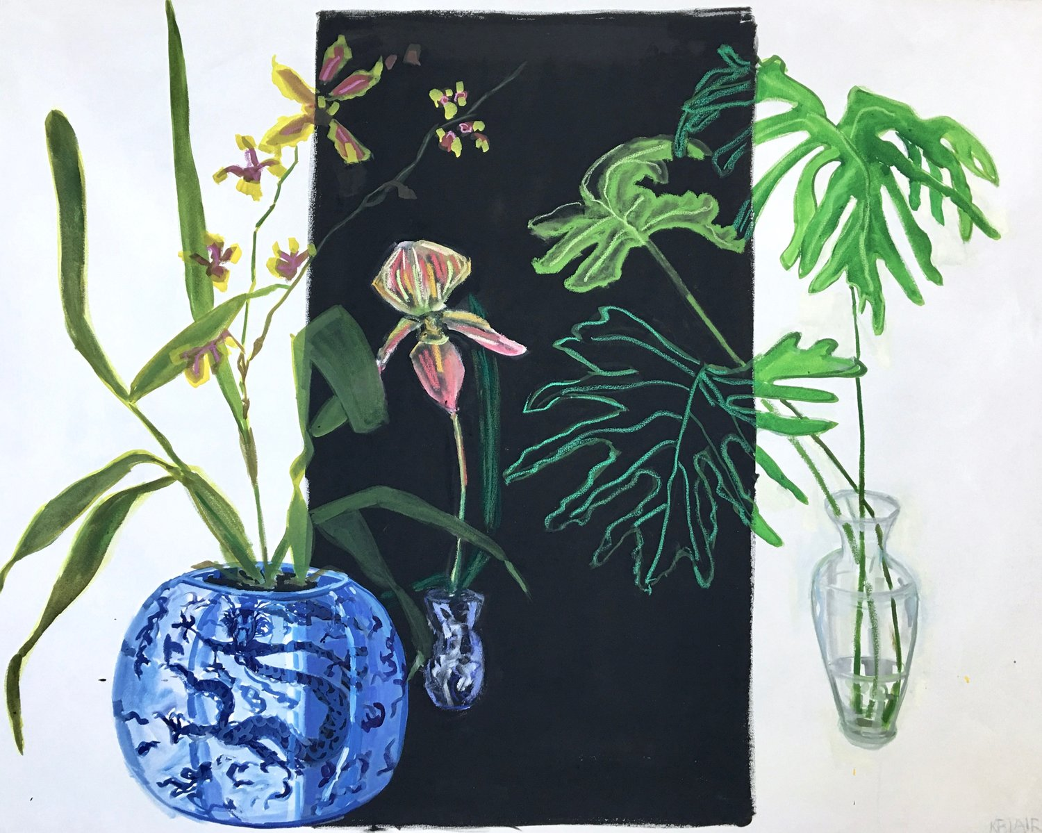 Orchids and Leaves, 48x60