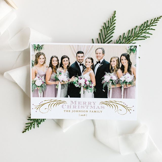 Get married this year?  We love turning your favorite family photo from the wedding into your special card to share with family & friends!⠀⠀⠀⠀⠀⠀⠀⠀⠀ ⠀⠀⠀⠀⠀⠀⠀⠀⠀ #celebratelifeonpaper #customchristmascards #weddingchristmascard #tistheseason