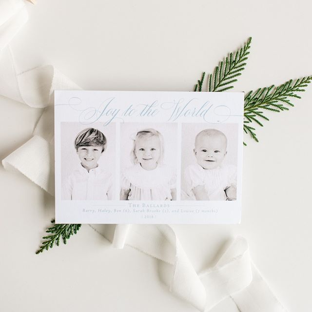 Classic & Clean - sometimes all you need is sweet pictures of your kids with a touch of design to celebrate the season on paper! Have you emailed us to get the details on the early bird special yet? #celebratelifeonpaper #customchristmascards #weddingchristmascard #tistheseason