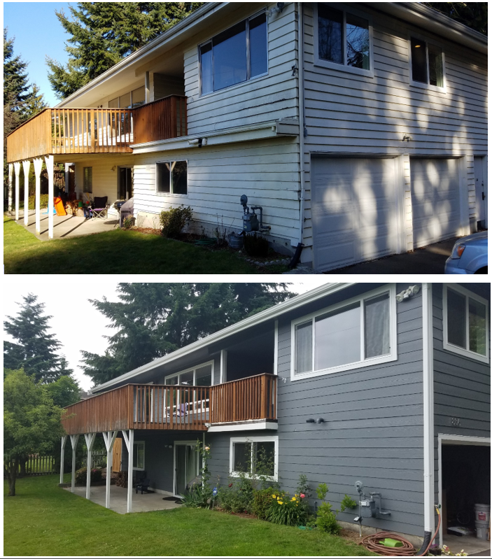a before + after of one of our many (& proud!) James Hardie ColorPlus jobs