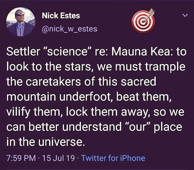 This sums it up beautifully. #standwithmaunakea #maunakea #kiai #defendthesacred