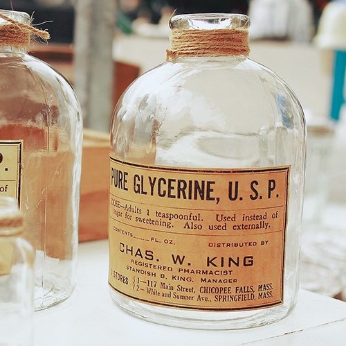 GLYCERINE   A humectant that naturally attracts and retains moisture to the skin. Softens the skin and provides hydration. Formed from vegetable oil and is a mild, natural material. Glycerine has been used as a base for soaps since 1889.  S