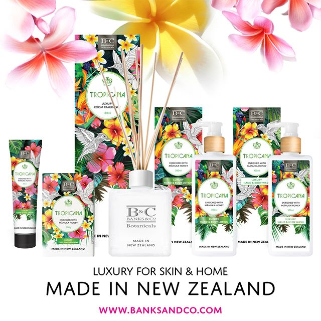 NEW range out now!⁣ ⁣Surround yourself with a citrusy fragrance inspired by the South Pacific's lush tropics. Luxury skincare enriched with Mānuka Honey & fruit extracts to soothe and pamper your skin. Made in New Zealand. Available at selected retailers. See link in bio for stockists.⁣ ⁣.⁣ ⁣#banksandconz #giftideas #madeinnz #nzshopping #onlineshoppingaustralia #onlineshop #luxury #skincare #soap #lotion #wash #handcream #shoplocal #newzealand #onlineshoppingnz #gift #manuka #manukahoney #nzgift #tropicana