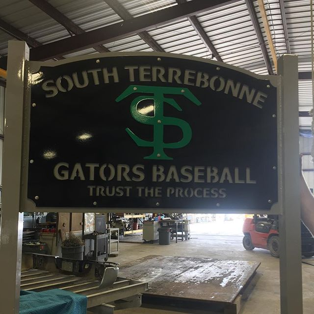 Sign donated by J&B Manufacturing to the South Terrebonne Baseball team