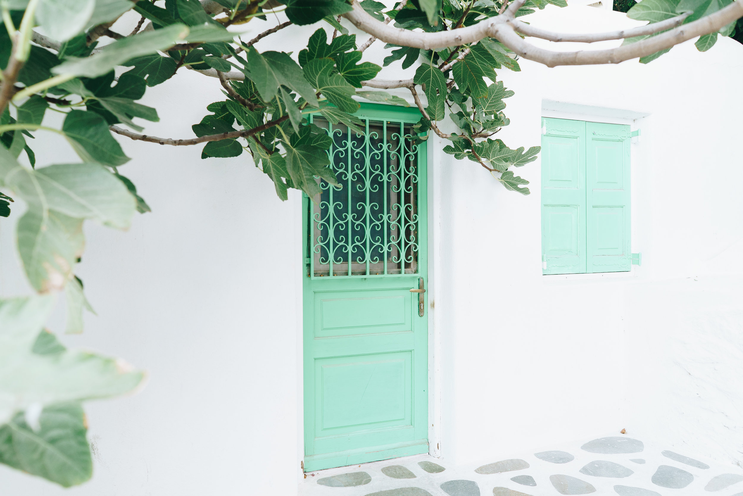 White buildings with colourful doors everywhere.