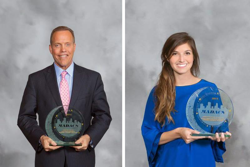 Jim Soderberg with Best Model award & Christine Ripka accepting Assistant Manager award on behalf of Lauren Torres