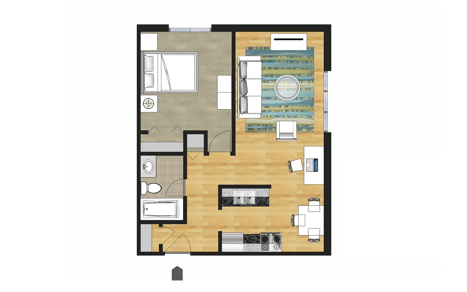 Open Galley Style Kitchen Floor Plan