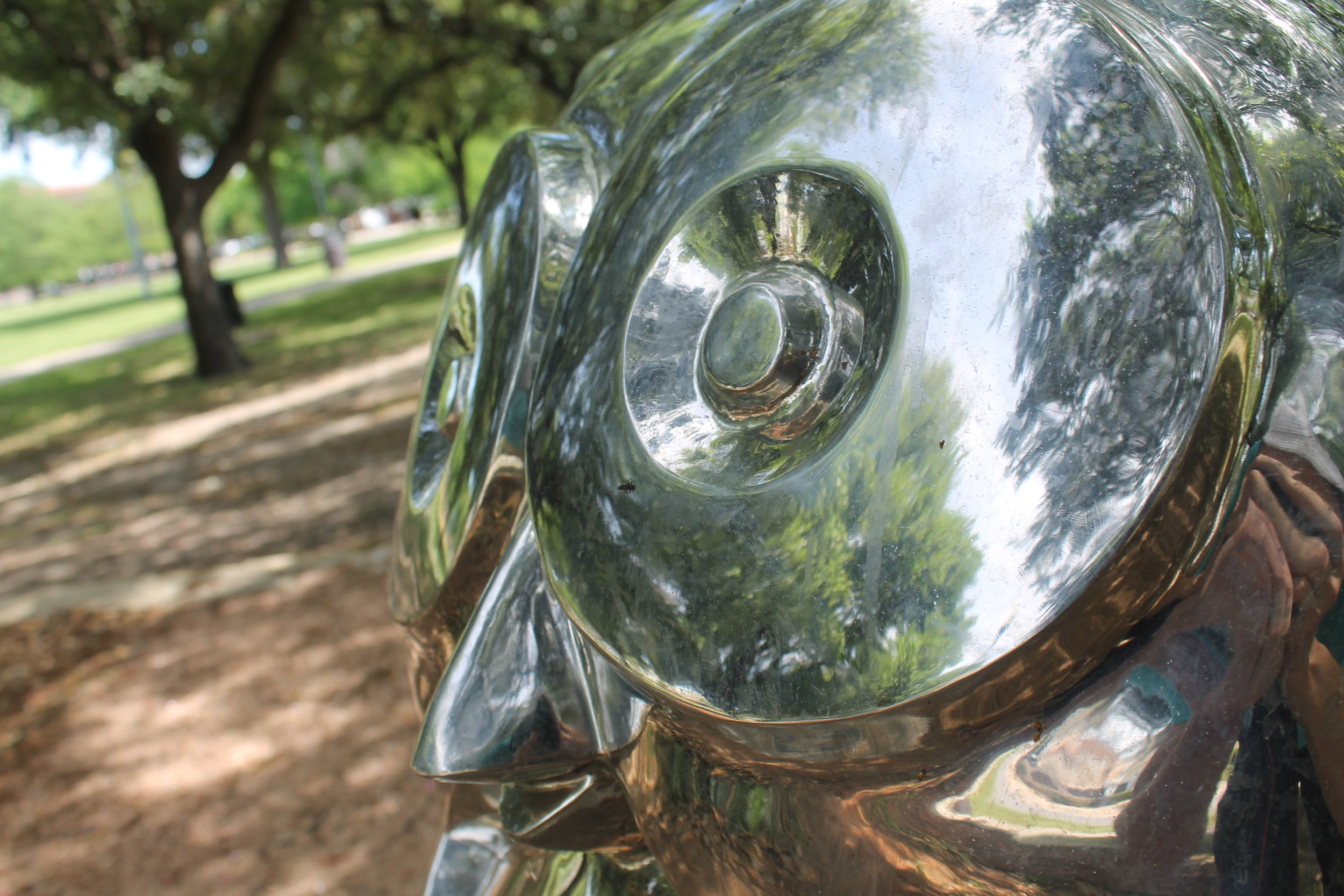 """Whimsy,"" located in Exall Park in east Dallas,  is a sculpture by Dallas artist Brad Oldham."
