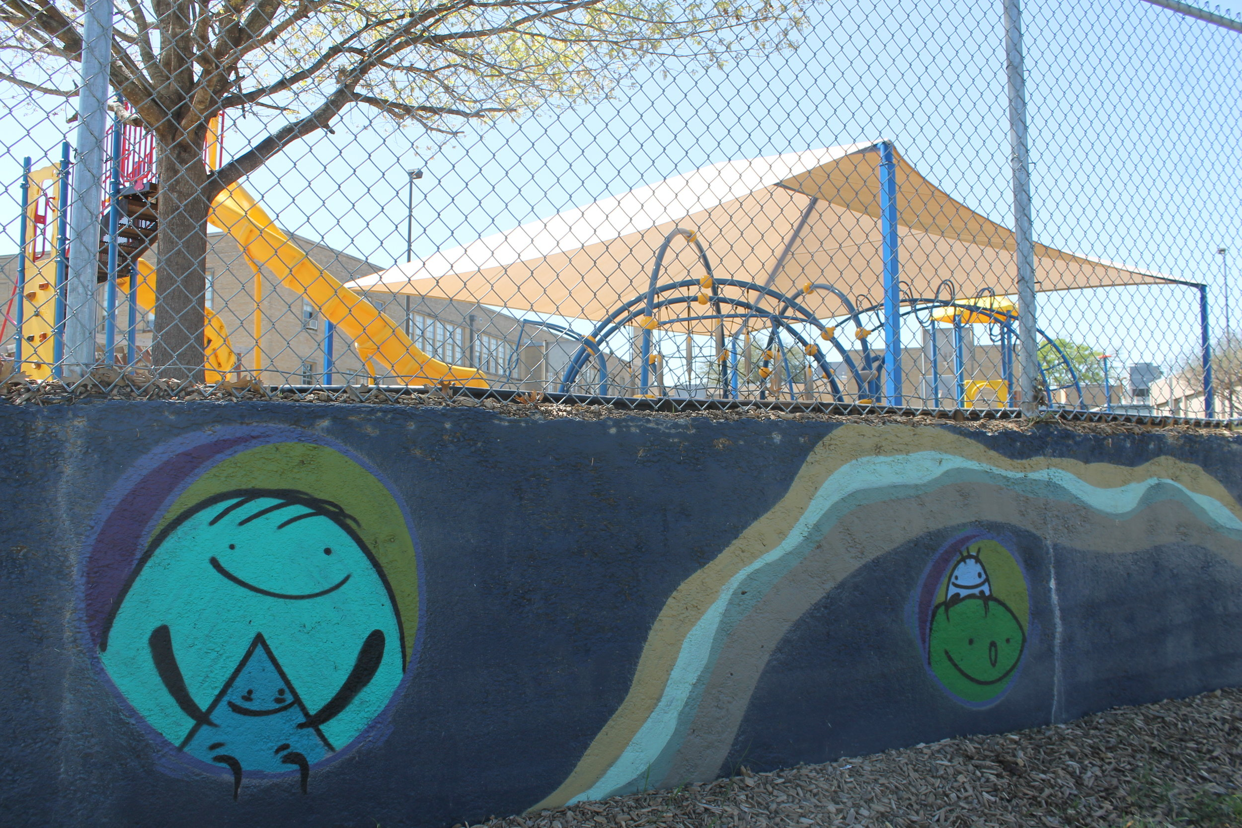 A fun, youthful mural adds a splash of fun color to Lakewood Elementary.