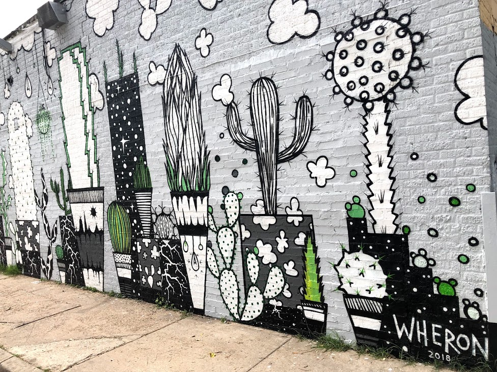 Dallas artist Wheron's latest mural depicts the Dallas skyline as cacti. Click for more information.  Photo by Micah Moore