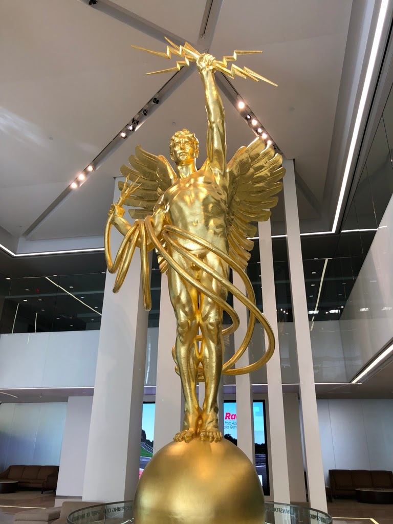 The Spirit of Communications is currently out of view in the Whitacre Tower lobby of AT&T Headquarters.