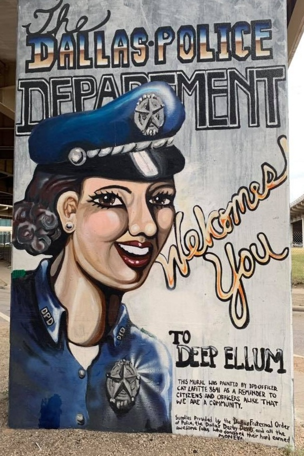 The restored mural continues welcoming visitors to Deep Ellum.  Photo courtesy of Hunter Creates.