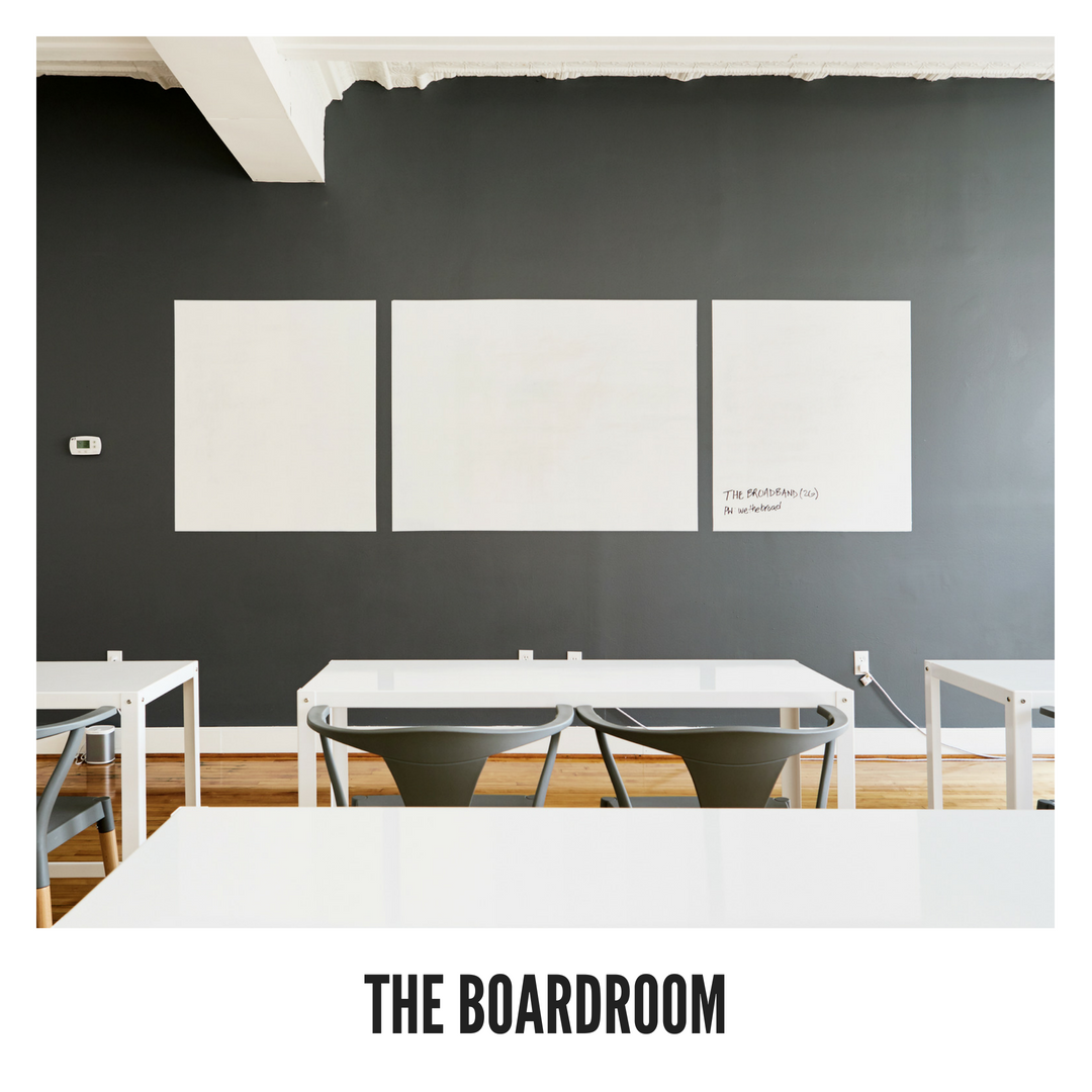 Fully private Table and chairs for 12 Additional seating available for up to 30 Whiteboard walls for ideation Free for members up to 2 hours at a time $100/hr for non-members