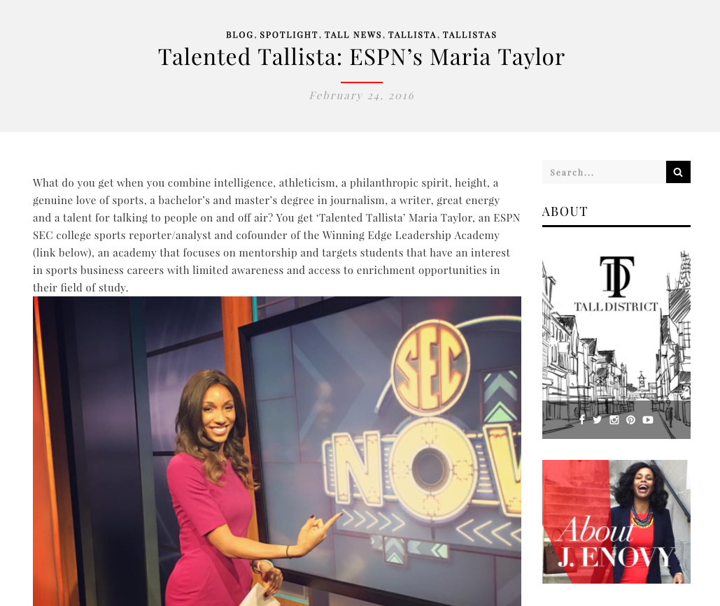 Talented Tallista: ESPN's Maria Taylor - TallDistrict.com