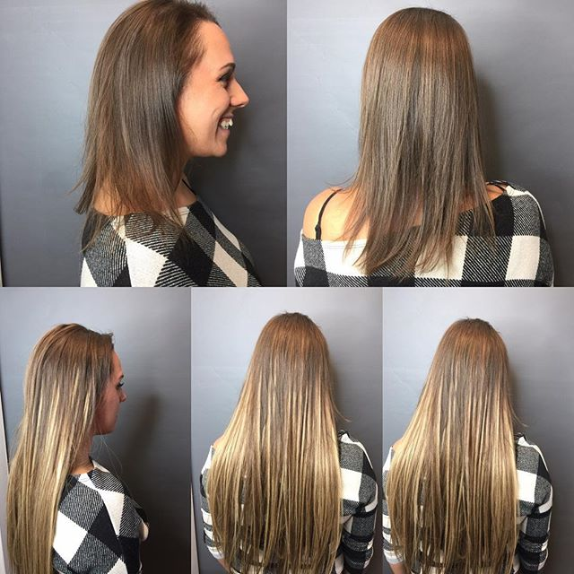 EXTENSIONS (fine hair) Gorgeous lady allergic to color but wants highlights. Your wish is my command. Ask for The HairHunter😂and get everything you want. HairHappiness!