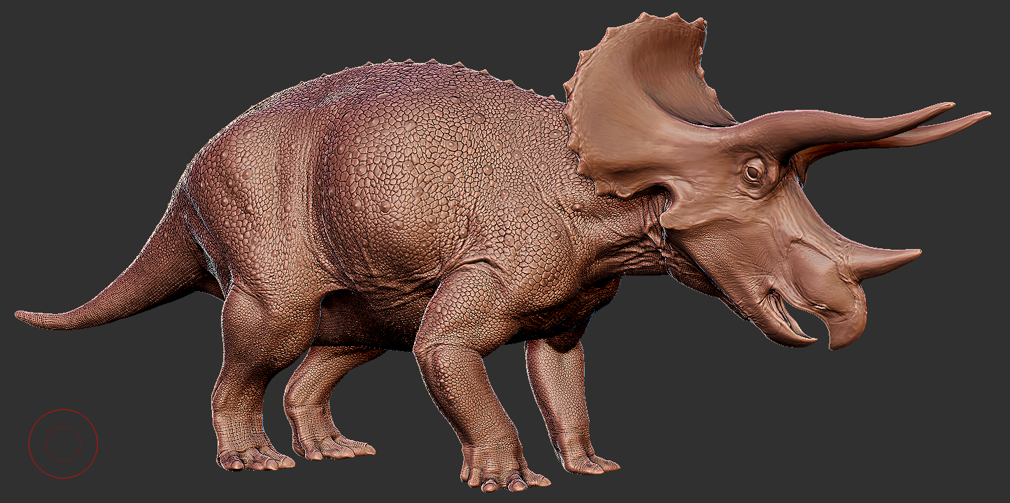 Triceratops  subadult. Get used to looking at this, it'll be the most common form of trike in the final game.