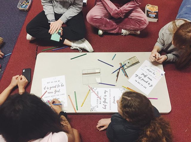 """Enjoying some reflection and creativity in small groups last night 👌🏼🥰 """"My flesh and heart my fail, but God is my strength and portion forever."""" Psalm 73:26  #madyouth"""