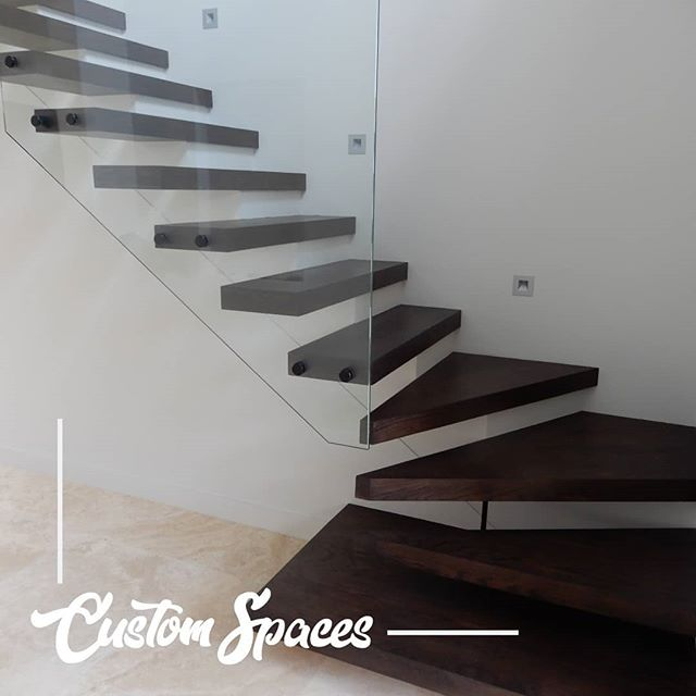 What do we have here?  Looking amazing is our beautiful half cantilevered 60mm Box treads out of American Oak. Stained Black Japan by the ever so talented @beachestimberfloors Moses.  Timber from @american_hardwoods  Finished with a little stainless steel handrail on 12mm glass  #northernbeachesstairs #architecturestairs #americanoak #americanoakstairs #boxtreads #sydneystairs #stairs #sydneystairs #glassbalustrade #floatingstairs