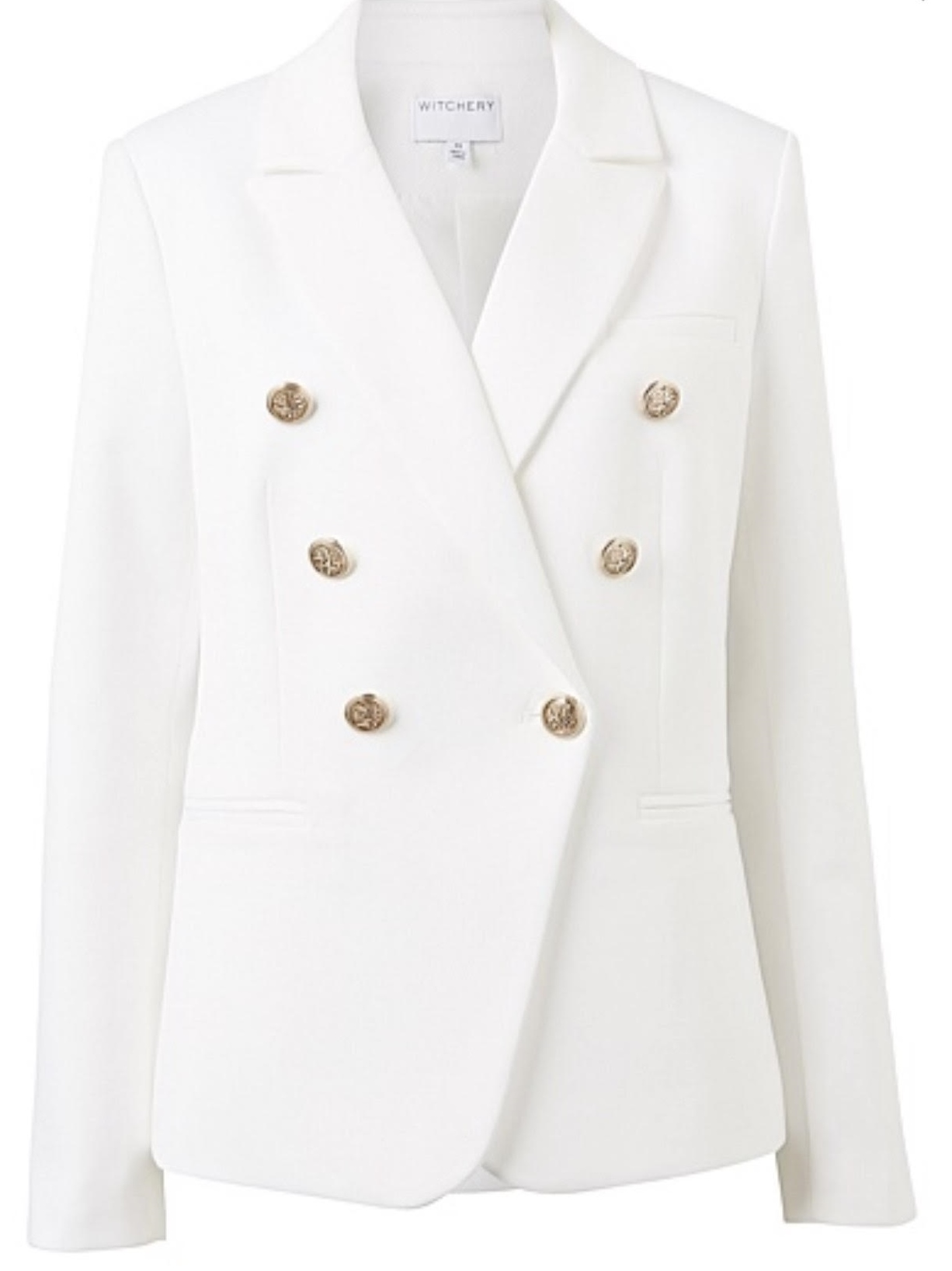 LESS Blazer - Witchery Double Breasted Blazer in MILK WHITE$279.952/778-782 Military Rd, Mosman(02) 9968 1647