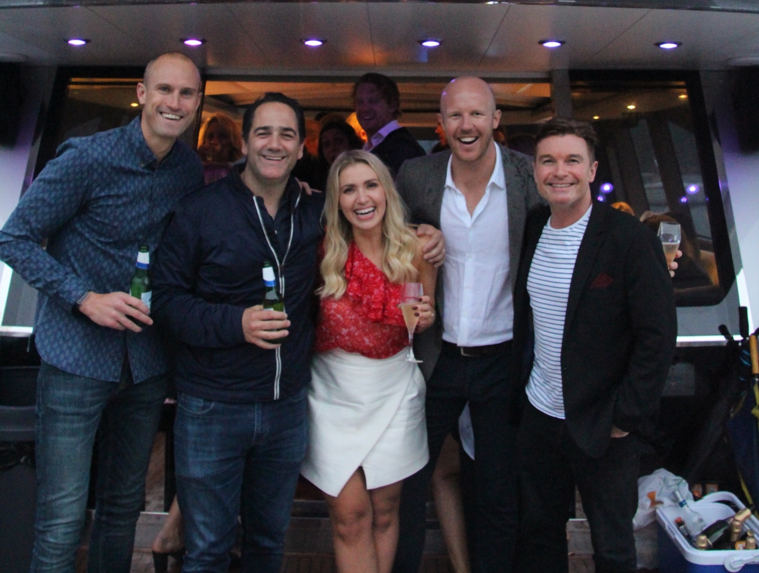 Lets Party! Beautiful Bronte Coy with Matt de Groot celebrating their engagement with Fitzy and Wippa from NOVA 96.9
