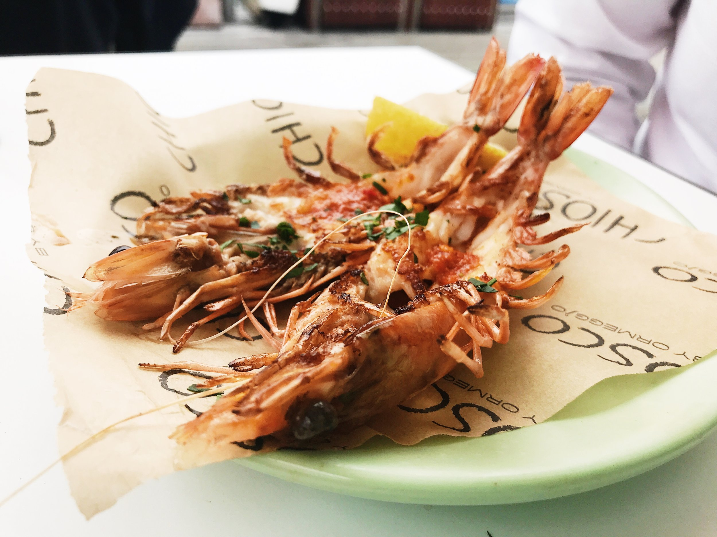 Gamberoni: Chargrilled king prawns with a chilli and lemon dressing.