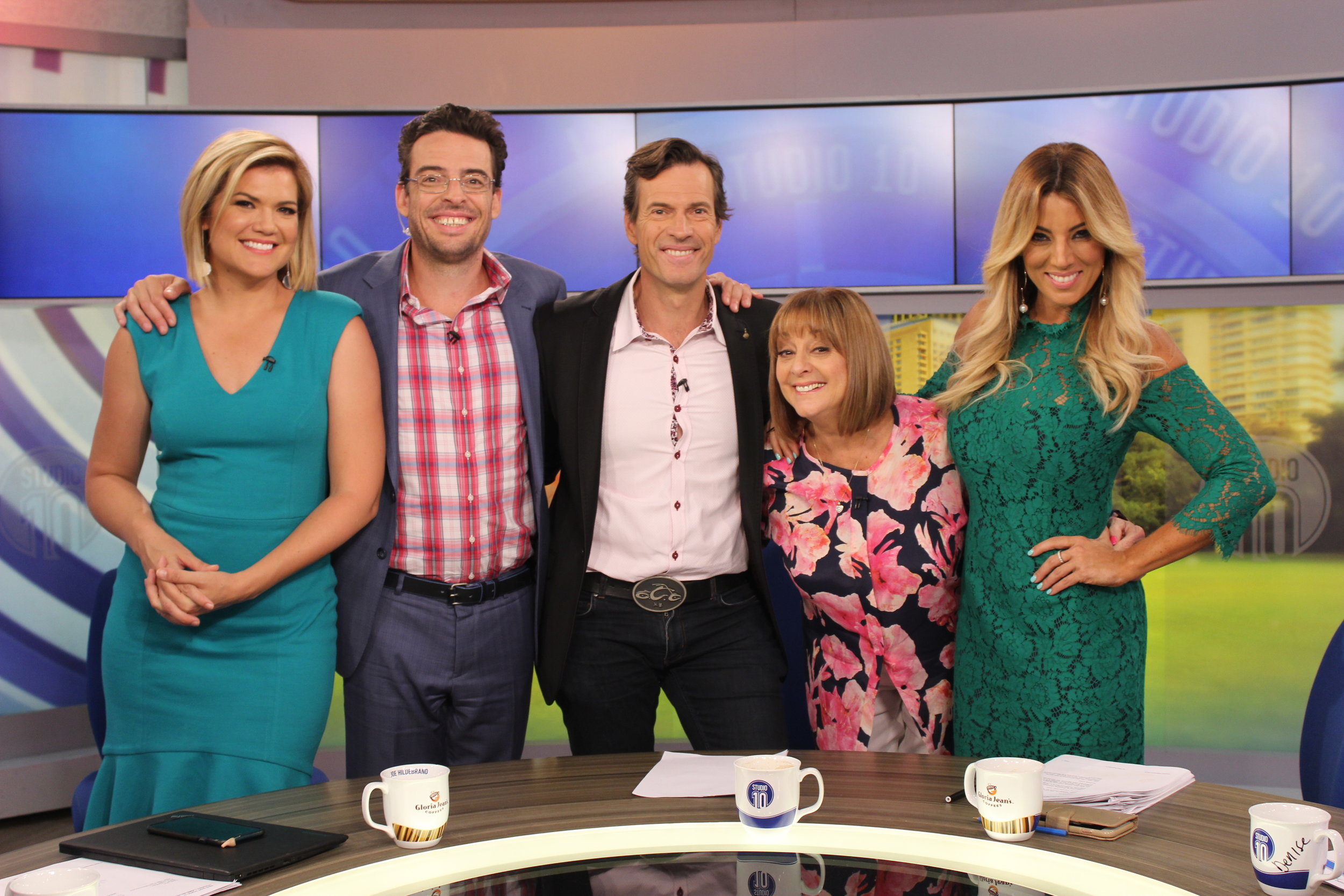 Gorgeous Jo Casamento on the set of Studio 10 with Sarah Harris, Joe Hildebrand, Brendan Jones and Denise Drysdale.